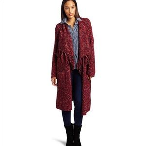 Lucky Brand Rock n Roll Long Red Cardigan Duster